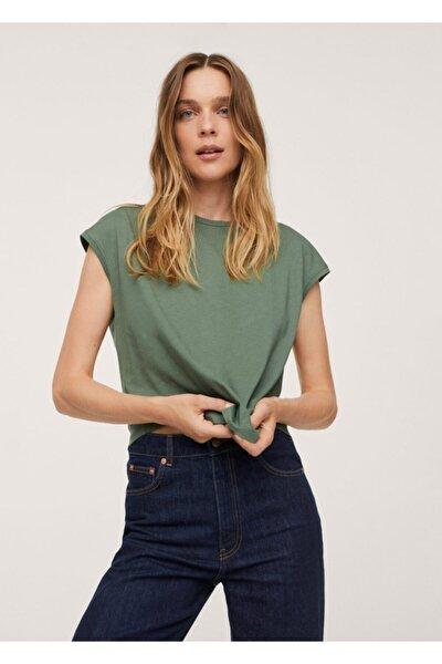 Kadın Yeşil Sırtı Cut-out Kesim Pamuklu Tişört