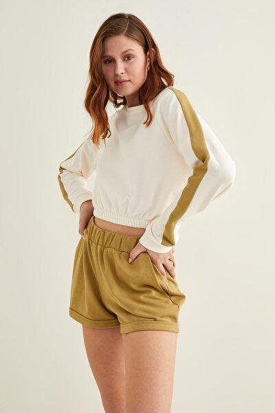 Kadın Kemik Kontrast Şeritli Crop Sweatshirt