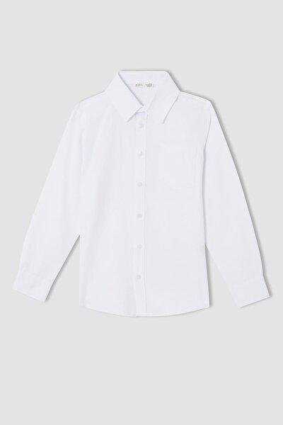 Erkek Çocuk Slim Fit Uzun Kollu Pamuklu Gömlek
