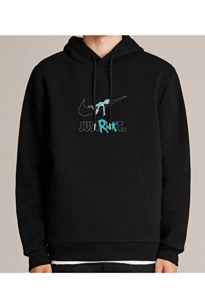 Nvm Rick Just Rick It Baskılı Siyah Erkek Kadın Unisex Kapşonlu Sweatshirt Uzun Kol
