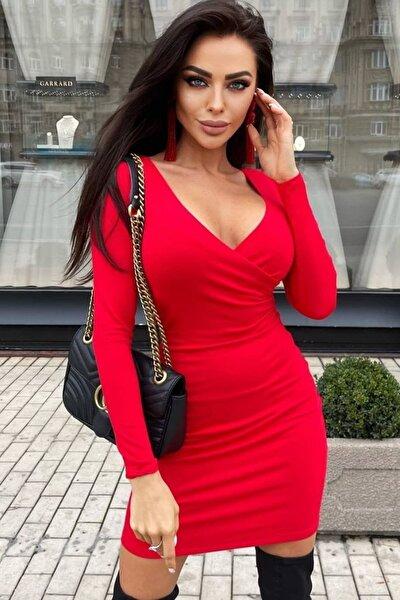 Krep Kumaş Kruvaze Yaka Uzun Kollu Kırmızı Mini Elbise 108