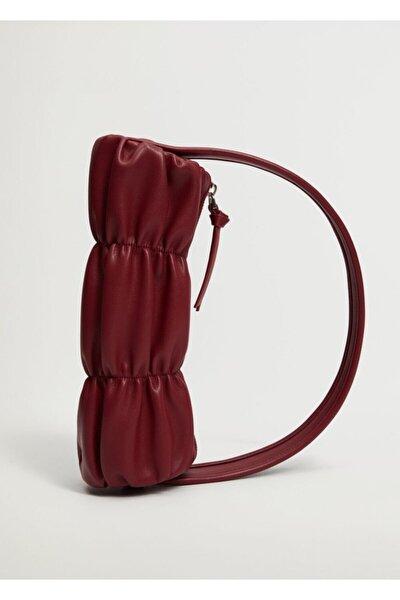 Kadın Kiraz Kırmızısı Pilili Baguette Çanta