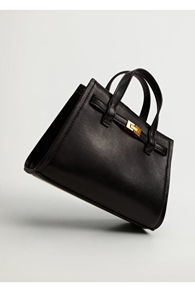 Kadın Siyah Mini Shopper Çanta
