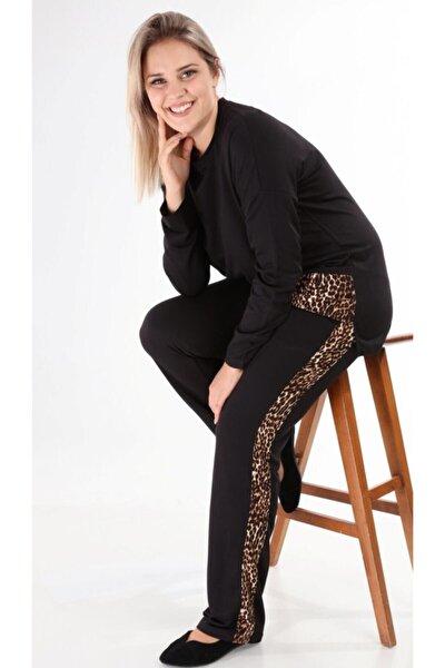 Kadın Büyük Beden Siyah Leopar Şerit Eşofman Takımı