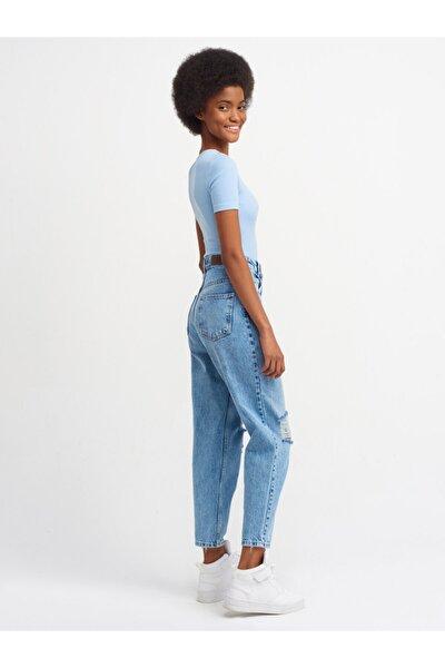 4347 Diz Bölümü Lazerli Mom Pantolon-mavi