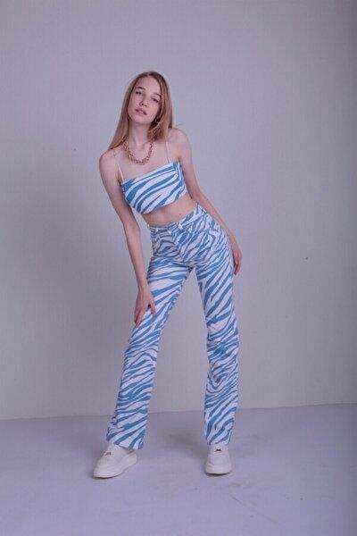 Kadın Mavi Slim Flare Blues Jean