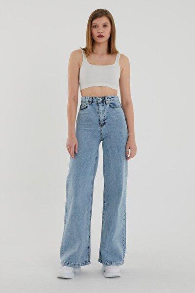 Mavi Kar Yıkama Süper Yüksek Bel Likralı Bol Paça Denim Kot Pantolon