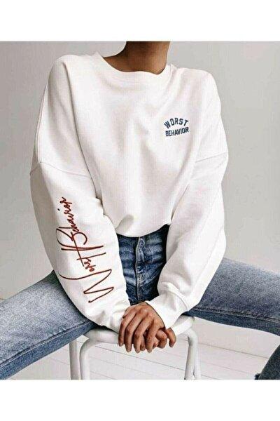 Kadın Bhvr Baskı Oversize Sweatshirt