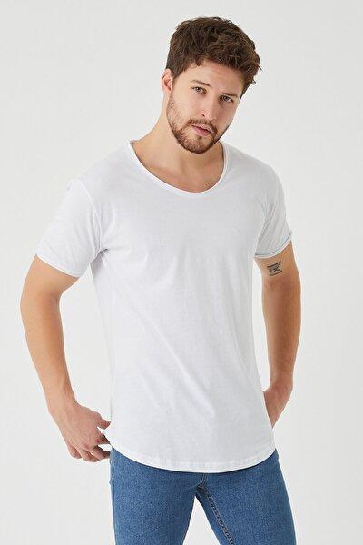 Erkek Beyaz Pis Yaka Salaş T-shirt
