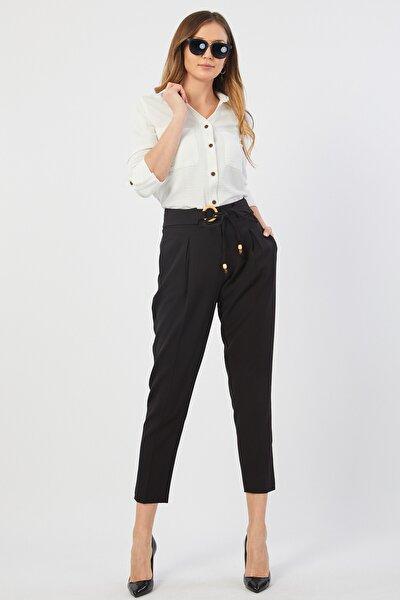 Kadın Tahta Tokalı Siyah Pantolon