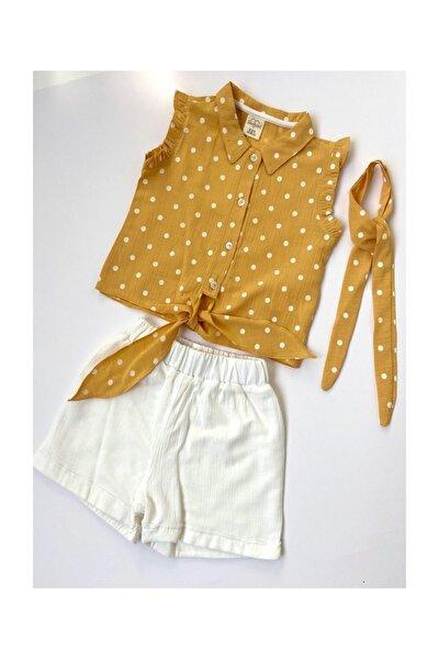 Kız Çocuk Sarı Gömlek Beyaz Şort Takım 3 Parça