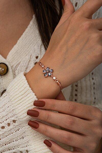 Kadın Pembe 925 Ayar Mistik Topaz Taşlı Çiçek Bileklik Gümüş Bileklik
