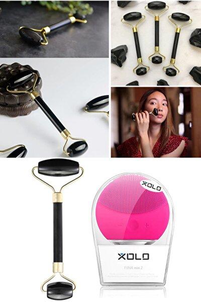 Şarj Edilebilir Fuşya Yüz Temizleme Cihazı + Jade Roller Siyah 2'li Yeşim Taşı Masaj Aleti