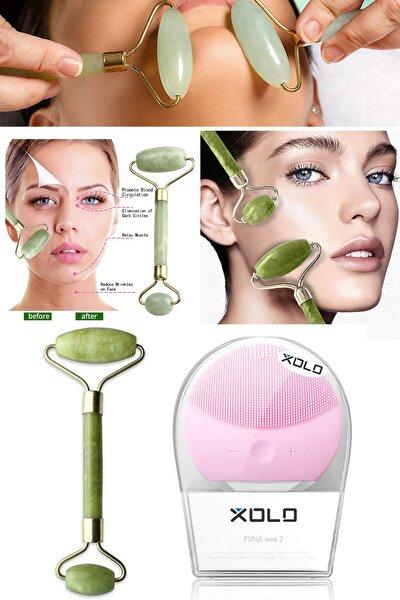 Şarj Edilebilir Pembe Yüz Temizleme Cihazı + Jade Roller 2'li Yeşim Taşı Masaj Aleti
