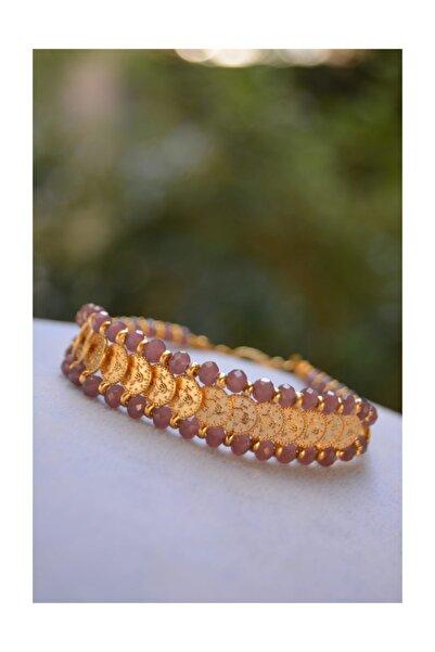 Altın Kaplama Tuğralı Mor Renkli El Yapımı Kadın Bileklik