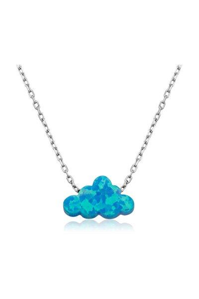 Gümüş Mavi Opal Taş Bulut Kadın Kolye