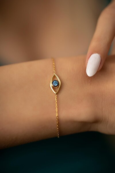 Kadın Göz Model Altın Kaplama Gümüş İtalyan Bileklik PKT-TLYSLVR0478