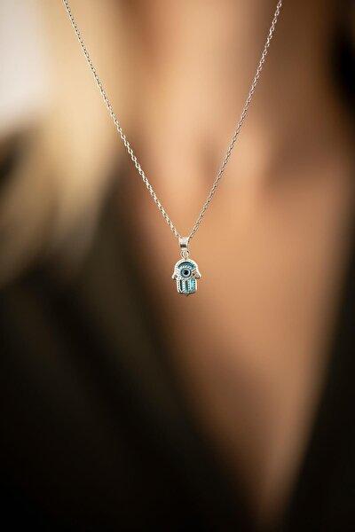 Kadın Fatma Ana Eli Model Nazarlık Gümüş Kolye PKT-TLYSLVR0836