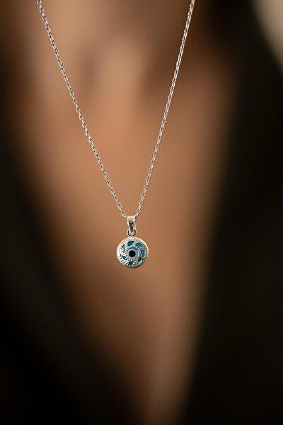 Kadın Yuvarlak Model Nazarlık Gümüş Kolye PKT-TLYSLVR0837
