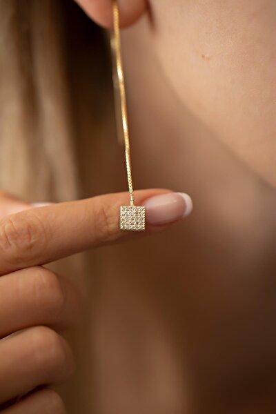 Kadın Kare Model Altın Kaplama Gümüş İtalyan Sallantılı Küpe PKT-TLYSLVR0391