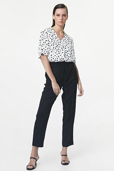 Kadın Siyah Lastik Bel Pantolon IS1200003179001