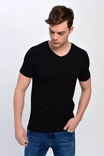 Erkek Siyah V Yaka %100 Pamuk Basic T-shirt