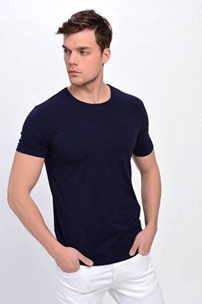 Erkek Lacivert Bisiklet Yaka Likralı Basic T-shirt T338