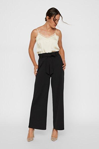Kadın Siyah Siyah Yüksek Bel Bağlama Detaylı Bol Paça Pantolon 10218438 VMMILLA
