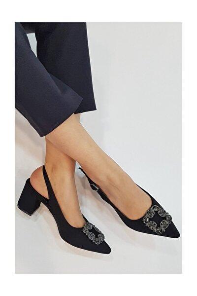 Kadın Siyah Süet Kalın Kısa Topuk Kadın Ayakkabı