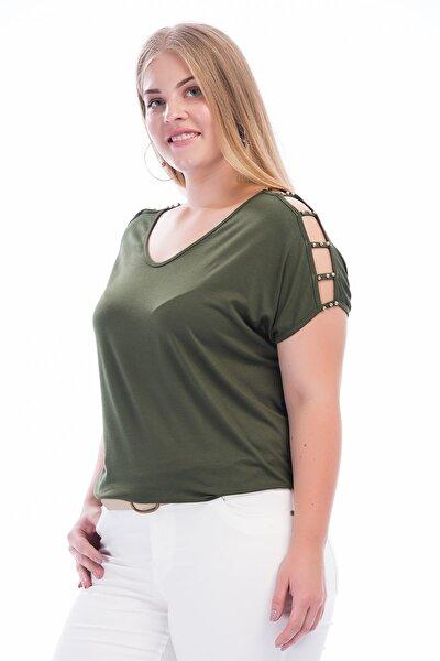 Kadın Haki Omuz Dekolteli İnci Detaylı Viskon Bluz 65N15453
