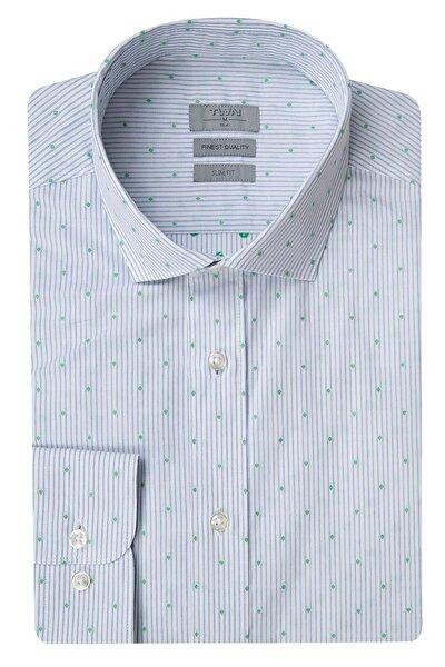 Beyaz Renk Erkek  Gömlek (Slim Fit)
