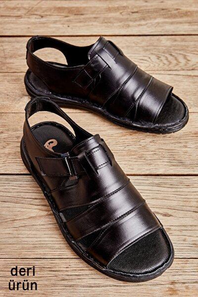 Hakiki Deri Siyah Erkek Sandalet L1501600203