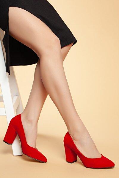 Kırmızı-Süet Kadın Klasik Topuklu Ayakkabı DXTRSWMNYK710