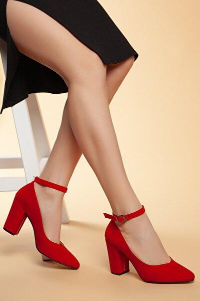 Kırmızı-Süet Kadın Klasik Topuklu Ayakkabı DXTRSWMNYK715
