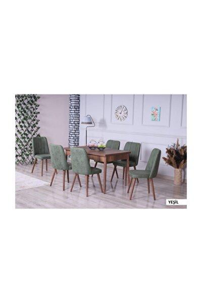 Velar Premıum Yemek Odası 6 Sandalyeli Ahşap Ayaklı - Yeşil