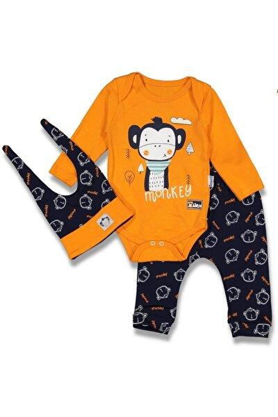 Maymunlu Erkek Bebek 3 Lü Takım