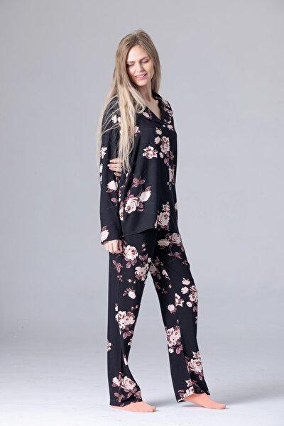 Dört Mevsimlik Uzun Kollu Gömlek Yaka Pijama Takımı Siyah Çiçek Dokuma