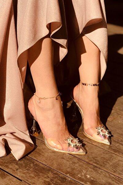 Sunset Silver Şeffaf Taşlı Topuklu Ayakkabı