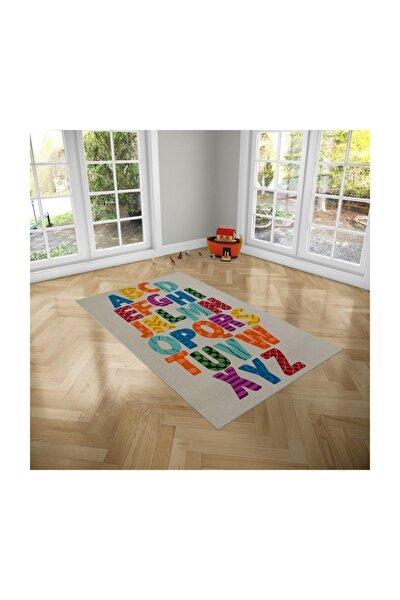 Çocuk Odası Oyun Halısı Kaymaz Tabanlı Kız Erkek Çocuk Odası Halısı Alfabeler Desenli Çocuk Halısı