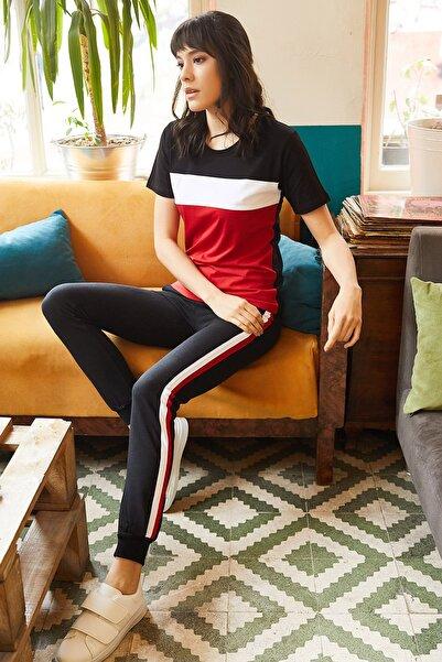 Kadın Kırmızı-Siyah Renk Bloklu Eşofman Takımı TKM-19000052