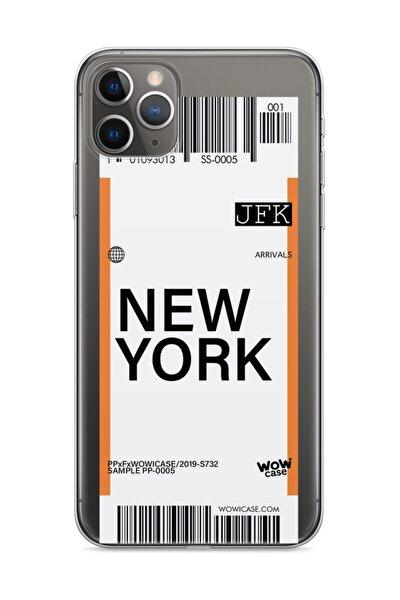 Apple Iphone 11 Pro Max Telefon Kılıfı Uçak Bileti Tasarımlı (newyork)