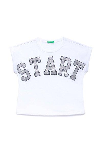 Beyaz Çocuk Slogan Baskılı Tshirt