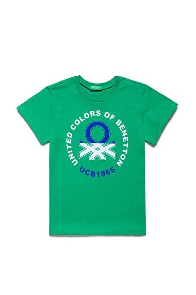 Yeşil Çocuk Benetton Yazılı Tshirt