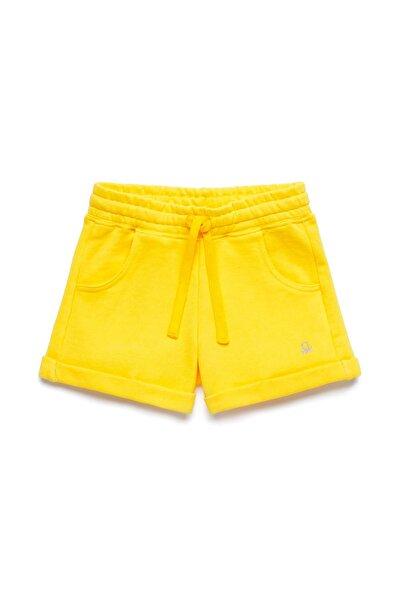 Sarı Çocuk Beli İpli Bermuda Şort