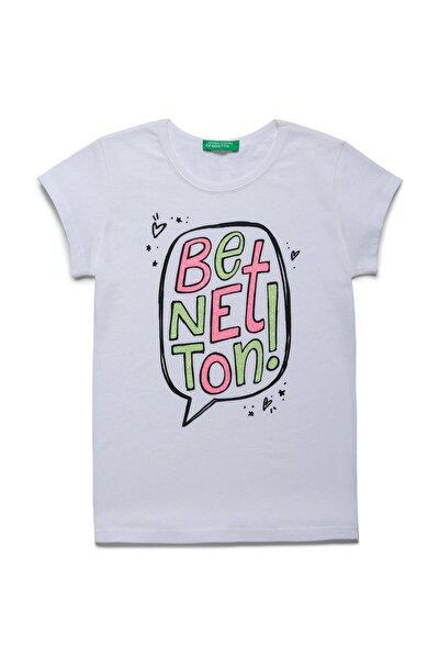 Beyaz Çocuk Benetton Logo Baskılı Tshirt