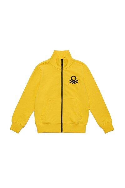 Sarı Çocuk Benetton Logo Sweatshirt