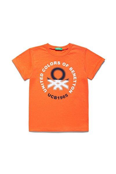 Turuncu Çocuk Benetton Yazılı Tshirt