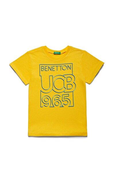 Sarı Çocuk Benetton Yazılı Tshirt