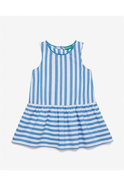 Mavi Çocuk Çizgili Kareli Elbise