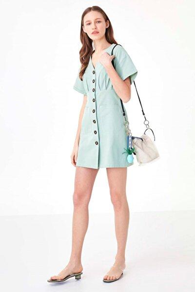 Kadın Mint Yeşil Düğme Kapama Elbise TS1200002438013